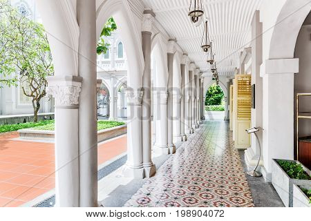 Amazing Gallery At Courtyard Of Old Colonial Building, Singapore
