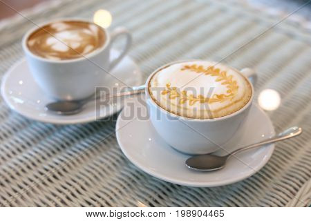 Caramel Macchiato And Latte Hot Coffee Drink Tasty In Cafe Restaurant