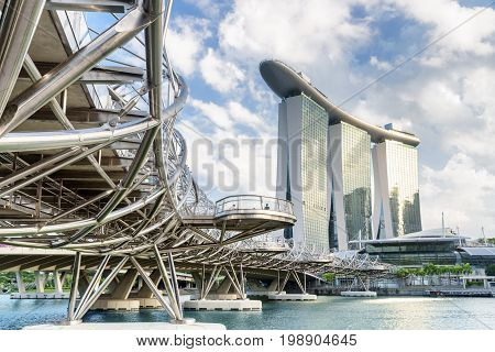 Amazing View Of The Helix Bridge In Singapore