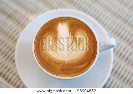 Heart Shape Latte Art Of Hot Coffee Drink Tasty