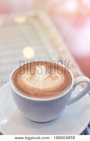 Heart Shape Latte Art Of Hot Coffee Drink Tasty In Cafe Restaurant