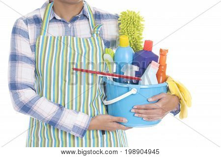 woman with cleaning equipment ready to clean house on white background