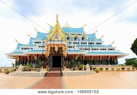 Main hall of Wat Pa Phu Kon temple with the biggest white marble nirvana Buddha inside at Na Yung Udon thani Thailand
