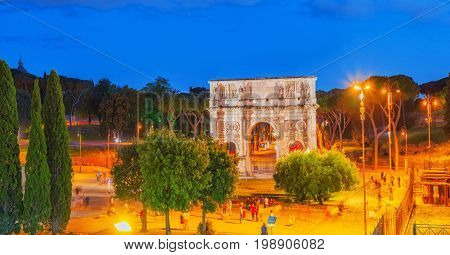 Beautiful Landscape Arch Of Constantine At The End Of The Palatine Hill  In The Late Evening Time.