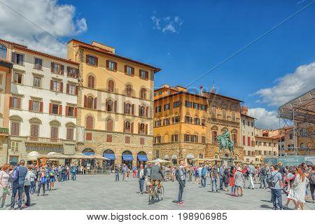 Florence, Italy- May 13, 2017: Square Of Signoria (piazza Della Signoria) L-shaped Square In Front O