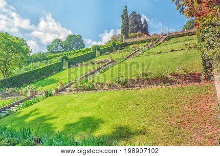 Beautiful Landscape Panorama On Historical View Gardens Of Bardini (giardino Bardini) And Boboli Gar