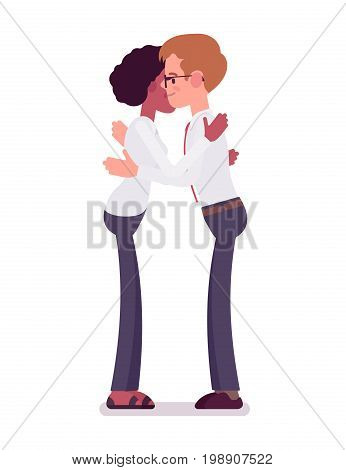 Male and female clerks giving a hug. Helpful and insightful friend, Business communication concept. Vector flat style cartoon illustration, isolated, white background