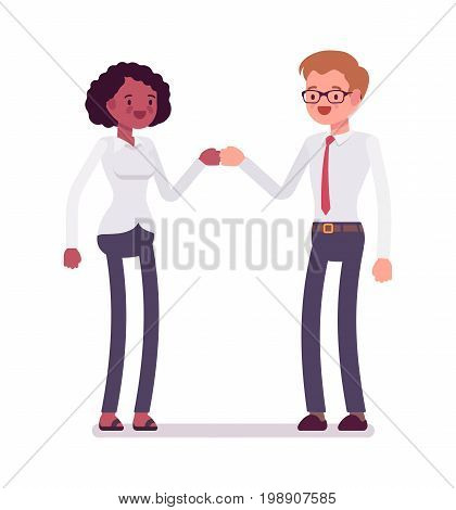 Male and female clerks fist bump. Exchange of ideas, opinions and information, effective skills. Business communication concept. Vector flat style cartoon illustration, isolated, white background