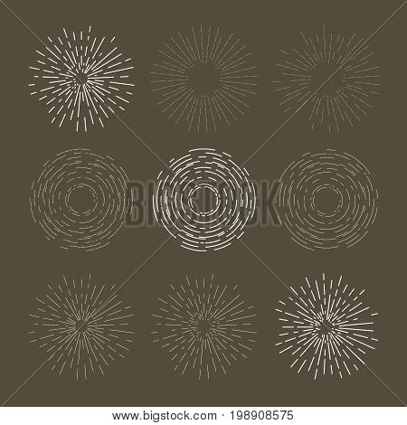 Vintage sunburst design - explosion or outburst dashed symbol