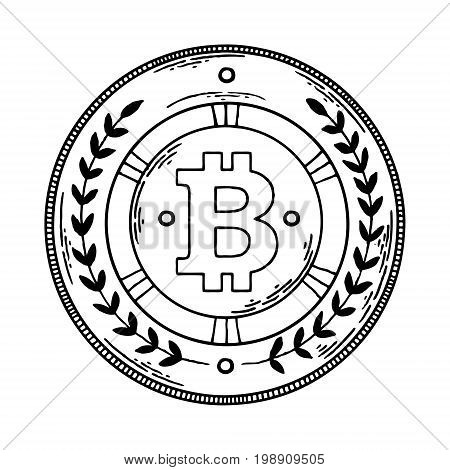 Bitcoin crypto currency money engraving vector illustration. Scratch board style imitation. Hand drawn image.