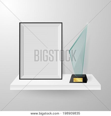 Modern glass cup trophy and blank frame on white shelf on white background vector illustration. Faceted crystal glass winner trophy and photo frame on shelf realistic side view composition vector.