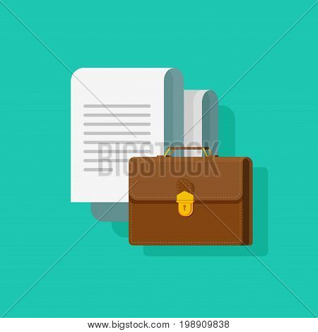 Big documents with briefcase vector illustration, flat cartoon office paper document, brown leather brief case isolated on color background, concept of business legal or lawyer docs, agreement sheets