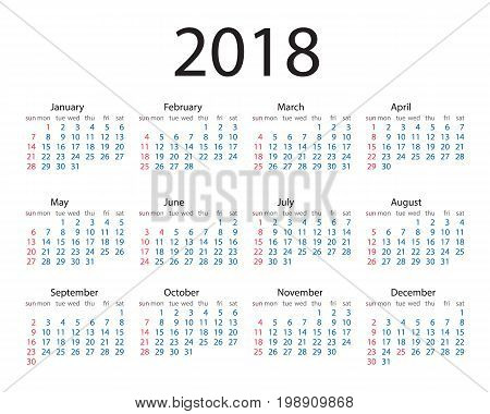 Calendar 2018 year simple style. Week starts from sunday. Vector circle calendar 2018. Week starts from Sunday.