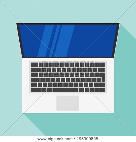 Laptop flat icon. Computer symbol. Vector illustration. Laptop icon flat style with shadow isolated on a light background. Top view Laptop Flat design vector icon