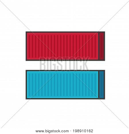 Container shipping vector illustration line outline style, metal cargo containers in red and blue color isolated on white background, freight package