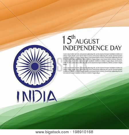 Independence Day of India. 15 th of August. illustration of grungy Indian Flag for Indian Independence Day. vector indian flag made with color strokes in tricolor background illustration