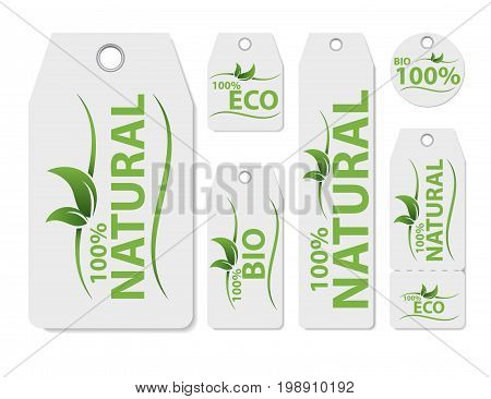 Set of vector price tag label for natural product. Fresh healthy organic vegan food. Organic, vegan food tag or sticker. Green design elements. Eco friendly sign, paper price label, shopping concept.