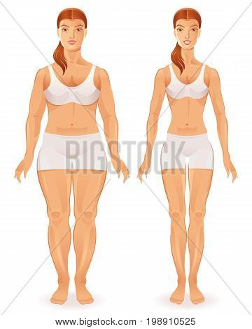 Healthy vs unhealthy people lifestyle infographics vector illustratin. Fat slim woman figure icon set. Before after girl body poster isolated white background. Obesity, fitness, diet design element