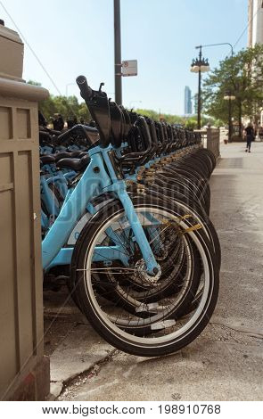 City Rent Bicycles Parked On Chicago Street