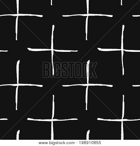 Trendy seamless pattern with handdrawn shapes. Messy endless ornament with white hand painted pluses on black background. Stylish vector design for fabric, wallpaper, wrapping
