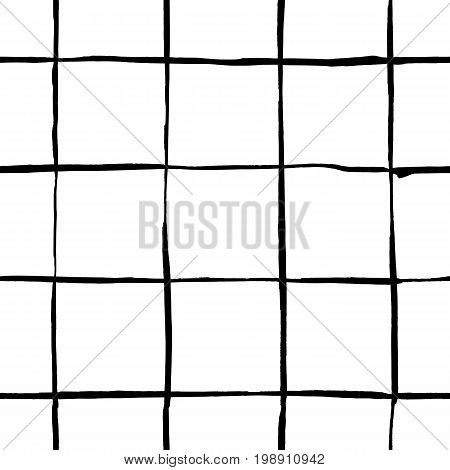 Trendy handdrawn checkered seamless pattern. Messy striped endless ornament with black hand painted strokes on white background. Stylish vector design for fabric, wallpaper, wrapping