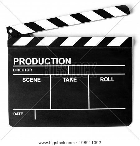 The Clapper board on white background. Isolated photo.