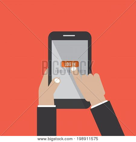Hand Hold Smart Phone With User Login Form Page And Sign In Button Vector Illustration. EPS 10