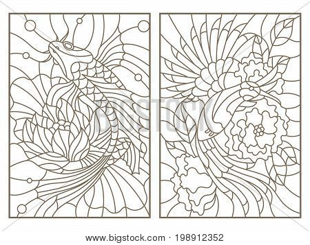 Set contour illustrations of the stained glass Windows of animals bird and blossoming tree a fish and Lotus