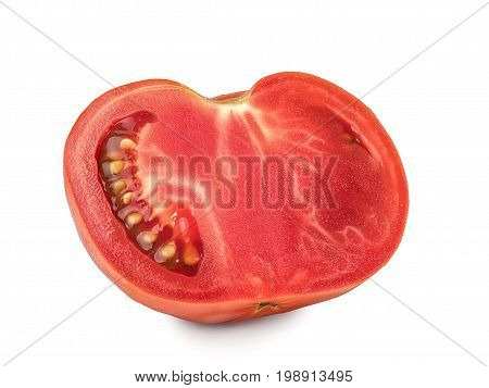 Red chopped tomato isolated on a white background, close-up. A fresh cut tomato, cut out with the texture and clipping path.
