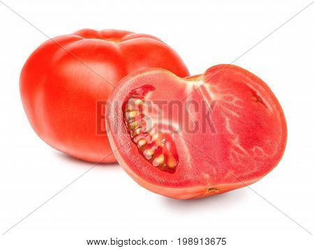 A fresh whole and cut tomato, cut out with the texture and clipping path. Red chopped tomato isolated on a white background, close-up.