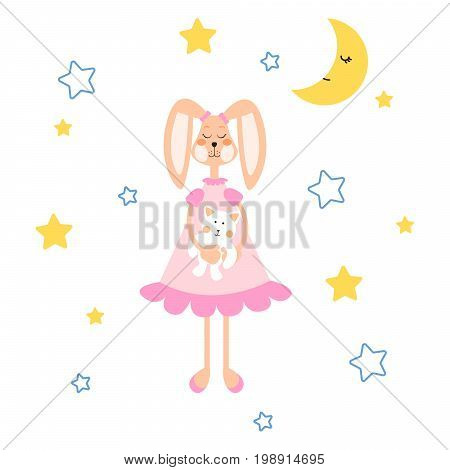 Pajamas illustration with bunny, bear plush toy vector for apparel print. Cute child cartoon style decoration.