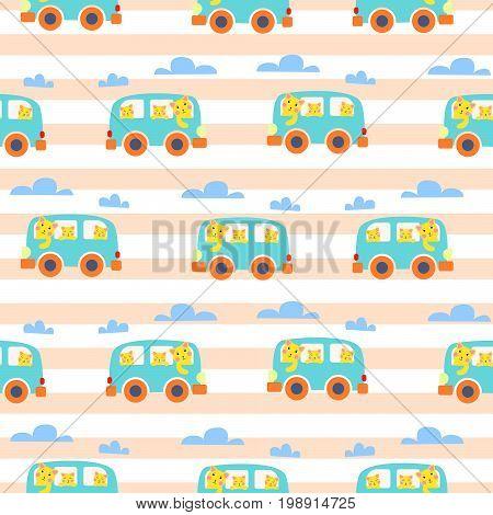 Cat family in hipster van vector illustration for kid apparel seamless pattern.