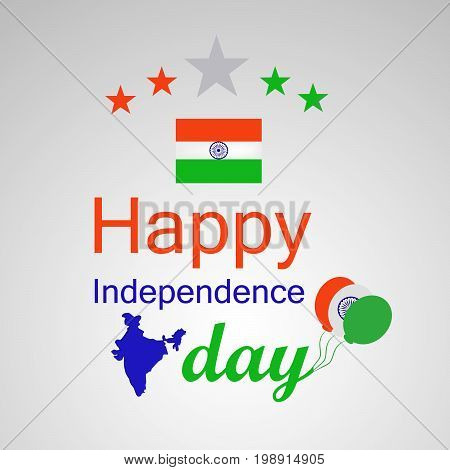 illustration of Happy Independence Day text with India map, stars, India flag and balloons on the occasion of India Independence Day