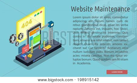 Isomatric Website Maintenance Conceptual Banner | Isomatric Banner Design with hight quality vector | Use for business, marketing, concept and much more. The set can be used for several purposes like: websites, print templates, presentation templates, and