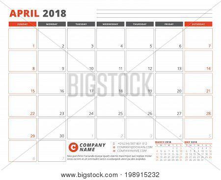 Calendar Planner Template For April 2018. Business Planner Template. Stationery Design. Week Starts