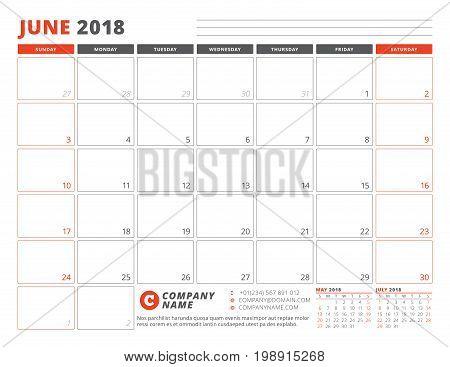 Calendar Planner Template For June 2018. Business Planner Template. Stationery Design. Week Starts O