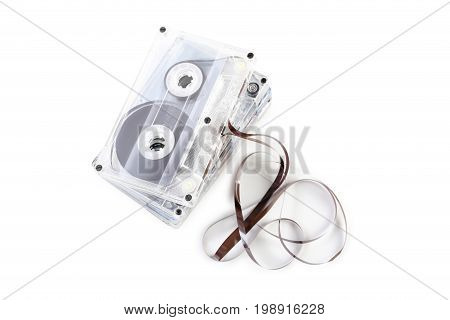 Cassette tapes isolated on a white background