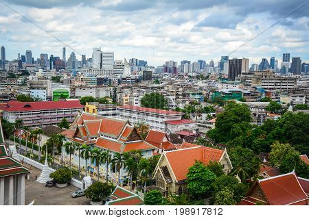 Aerial View Of Chinatown In Bangkok, Thailand