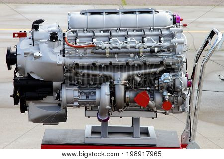 Modern Four-stroke diesel air-cooled engine with turbocharger.