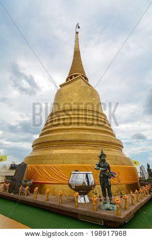 Golden Stupa At Wat Saket In Bangkok, Thailand