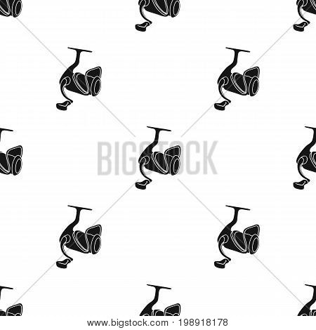 Fishing reel icon in black design isolated on white background. Fishing symbol stock vector illustration.