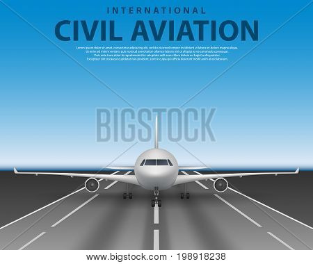 Civil passenger airliner jet on runway. Commercial realistic airplane concept front view. Plane in blue sky, travel agency advertisement poster design EPS 10