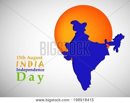 illustration of 15th August India Independence Day text with India map and button on the occasion of India Independence Day