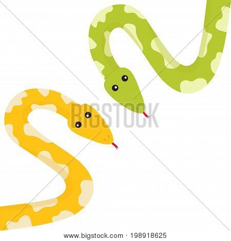 Yellow green python snake set with tongue. Golden crawling serpent and spot. Cute cartoon character. Flat design. White background. Isolated. Vector illustration