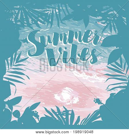 poster for summer vacation with tropical frame and place for text, ocean sunrise or tender sunset and exotic flowers  in sketch style, vector illustration