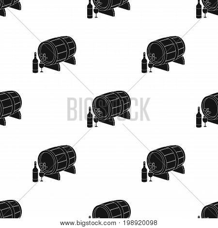 Wooden wine barrel icon in black design isolated on white background. France country symbol stock vector illustration.