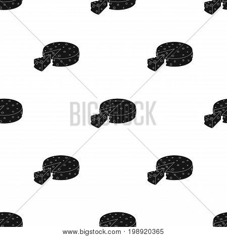 French hard cheese icon in black design isolated on white background. France country symbol stock vector illustration.