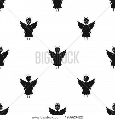 Soul icon in black design isolated on white background. Funeral ceremony symbol stock vector illustration.