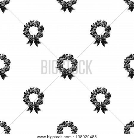Funeral wreath icon in black design isolated on white background. Funeral ceremony symbol stock vector illustration.