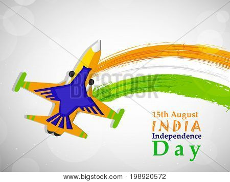 illustration of India flag with 15th August India Independence Day text and aircraft on the occasion of India Independence Day